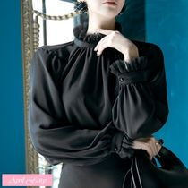 Puffed Sleeves Plain Elegant Style Shirts & Blouses