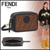 FENDI Monogram Elegant Style Shoulder Bags