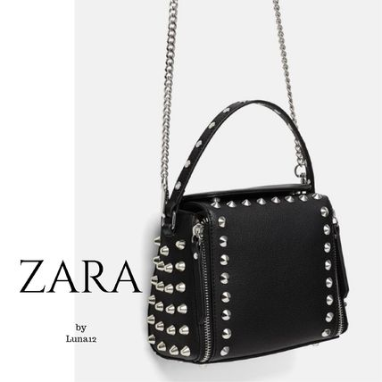 6f15528d ... ZARA Shoulder Bags Casual Style Studded 2WAY Chain Plain Shoulder Bags  ...