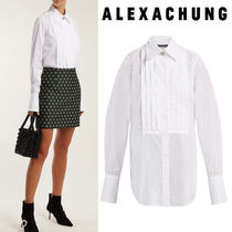 ALEXACHUNG Casual Style Long Sleeves Plain Cotton Long With Jewels