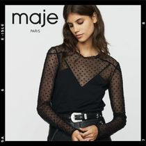 maje Dots Lace-up Casual Style Long Sleeves Medium Lace