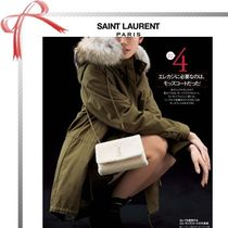 Saint Laurent Blended Fabrics Plain Medium Elegant Style Parkas
