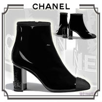 CHANEL Plain Leather Block Heels Elegant Style