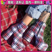 DOLLS KILL Tartan Platform Round Toe Casual Style Ankle & Booties Boots