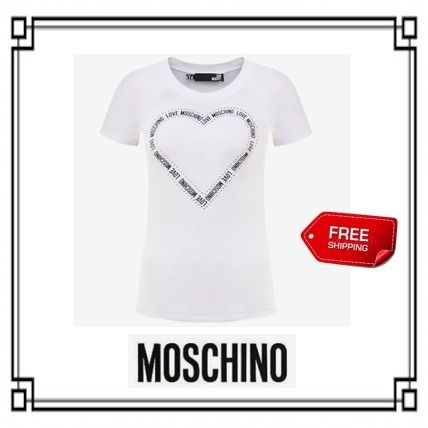 Crew Neck Heart Street Style Cotton Short Sleeves T-Shirts
