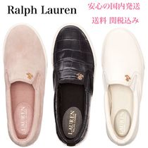 Ralph Lauren Round Toe Rubber Sole Casual Style Plain Leather