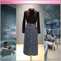 MiuMiu Star Casual Style Silk Long Sleeves Medium Shirts & Blouses