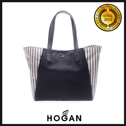 Stripes Casual Style Leather Totes