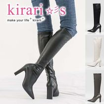 Casual Style Faux Fur Plain Chunky Heels Over-the-Knee Boots