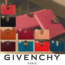 GIVENCHY GV3 Unisex Plain Leather Folding Wallets