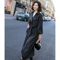 Stripes Long Office Style Trench Coats