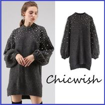 Chicwish Casual Style U-Neck Long Sleeves Long With Jewels Oversized