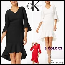 Calvin Klein Tight V-Neck Cropped Plain Medium Dresses