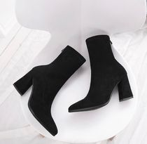 Faux Fur Plain High Heel Boots