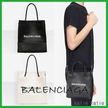 BALENCIAGA EVERYDAY TOTE Casual Style Street Style Chain Plain Leather Shoulder Bags