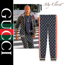 GUCCI Stripes Monogram Street Style Oversized Joggers & Sweatpants