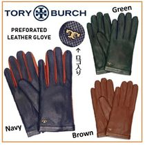Tory Burch Plain Leather Elegant Style Leather & Faux Leather Gloves