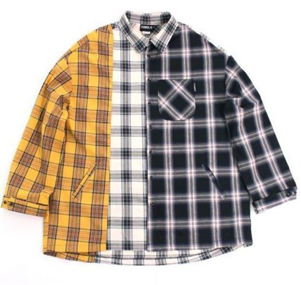 AJO AJOBYAJO Shirts Other Check Patterns Unisex Street Style Long Sleeves Cotton 2