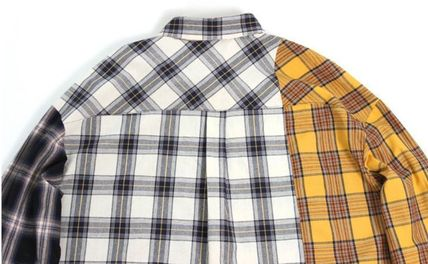 AJO AJOBYAJO Shirts Other Check Patterns Unisex Street Style Long Sleeves Cotton 5