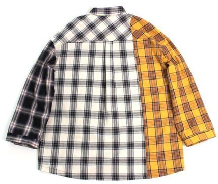 AJO AJOBYAJO Shirts Other Check Patterns Unisex Street Style Long Sleeves Cotton 6