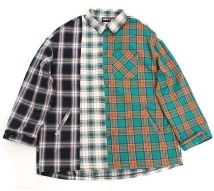 AJO AJOBYAJO Shirts Other Check Patterns Unisex Street Style Long Sleeves Cotton 9