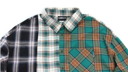 AJO AJOBYAJO Shirts Other Check Patterns Unisex Street Style Long Sleeves Cotton 10