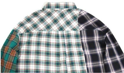 AJO AJOBYAJO Shirts Other Check Patterns Unisex Street Style Long Sleeves Cotton 13