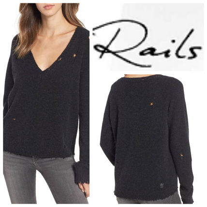 Casual Style Wool V-Neck Plain Medium Sweaters