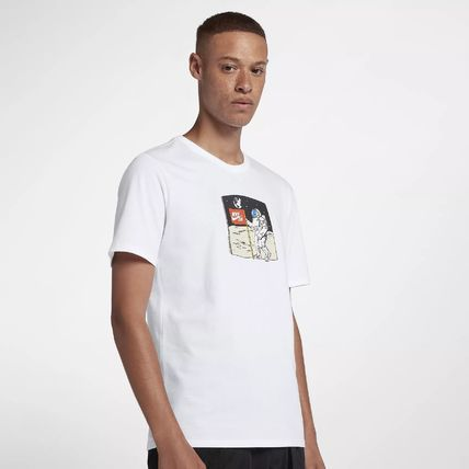 Nike Crew Neck Crew Neck Pullovers Street Style Cotton Short Sleeves
