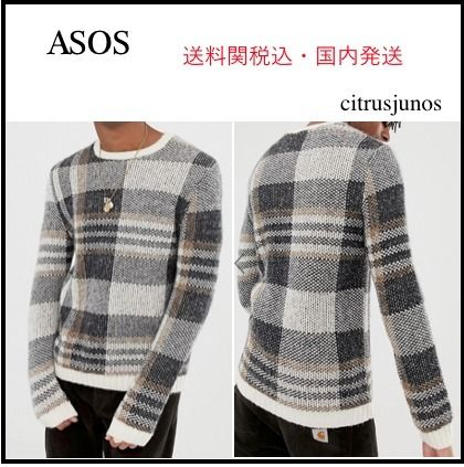 ASOS Knits & Sweaters Crew Neck Other Check Patterns Street Style Long Sleeves