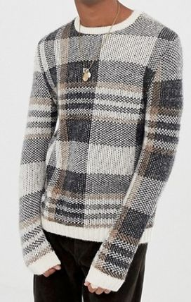 ASOS Knits & Sweaters Crew Neck Other Check Patterns Street Style Long Sleeves 2