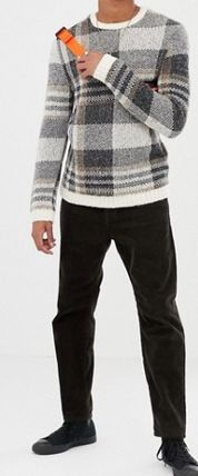 ASOS Knits & Sweaters Crew Neck Other Check Patterns Street Style Long Sleeves 5