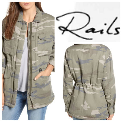 Camouflage Casual Style Long Sleeves Medium Tops