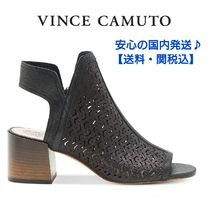 Vince Camuto Open Toe Leather Block Heels Elegant Style