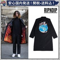 RIPNDIP Unisex Street Style Plain Long Oversized Trench Coats