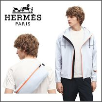 HERMES Nylon Street Style Long Sleeves Plain Hoodies
