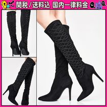 DOLLS KILL Casual Style Faux Fur Plain Pin Heels High Heel Boots