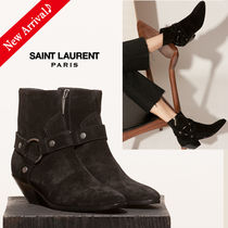 Saint Laurent Round Toe Casual Style Suede Blended Fabrics Plain