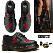 Dr Martens Flower Patterns Round Toe Rubber Sole Lace-up Plain Leather