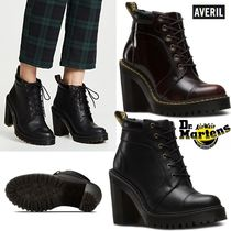 Dr Martens Plain Toe Lace-up Plain Leather Block Heels Lace-up Boots