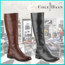 Cole Haan Round Toe Plain Leather Elegant Style Flat Boots