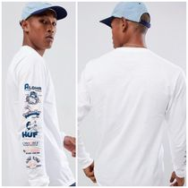 HUF Crew Neck Street Style Long Sleeves Plain Cotton