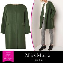 MaxMara Wool Blended Fabrics Plain Medium Elegant Style Wrap Coats