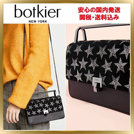Star 2WAY Chain Leather Elegant Style Shoulder Bags