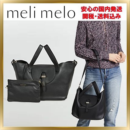 Unisex A4 2WAY Chain Plain Leather Elegant Style Totes