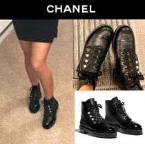 CHANEL Round Toe Lace-up Blended Fabrics Chain Plain Leather