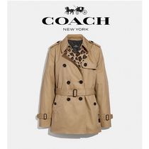 Coach Leopard Patterns Medium Elegant Style Trench Coats