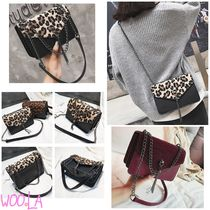 Leopard Patterns Faux Fur Street Style Chain Plain
