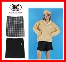 BASIC COTTON Casual Style Street Style Cotton Skirts
