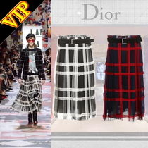 Christian Dior Other Check Patterns Medium Elegant Style Midi Skirts
